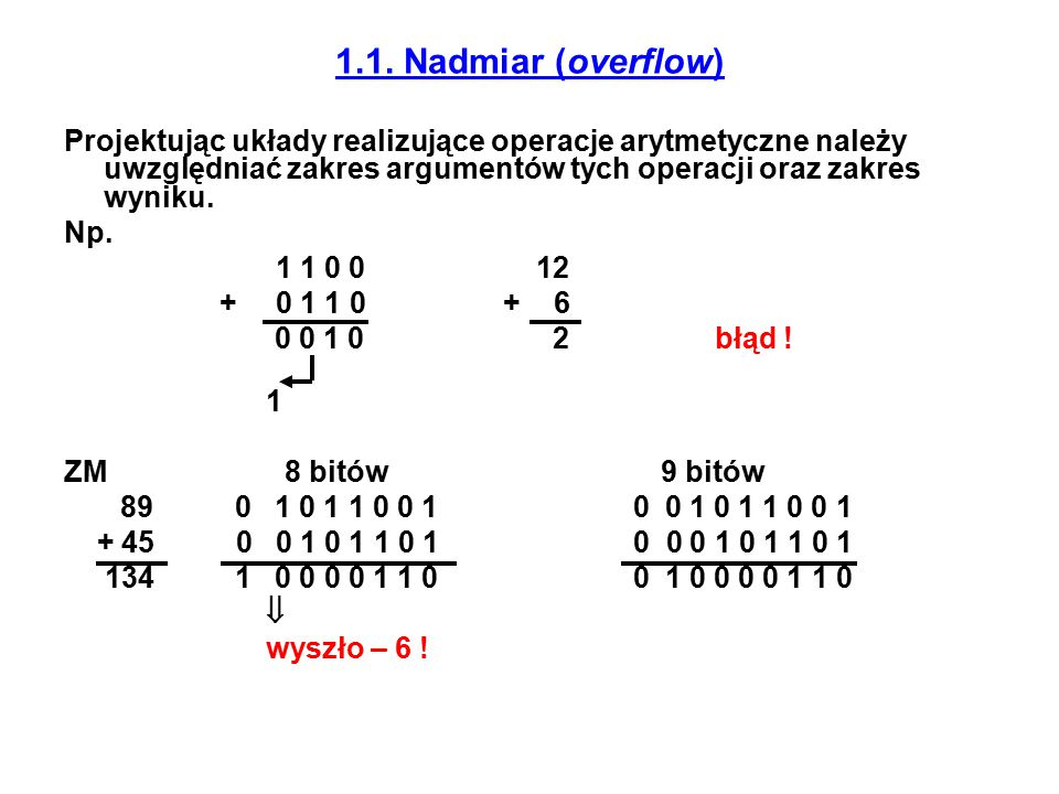 1.1. Nadmiar (overflow) Projektując układy realizujące operacje arytmetyczne należy uwzględniać zakres argumentów tych operacji oraz zakres wyniku.