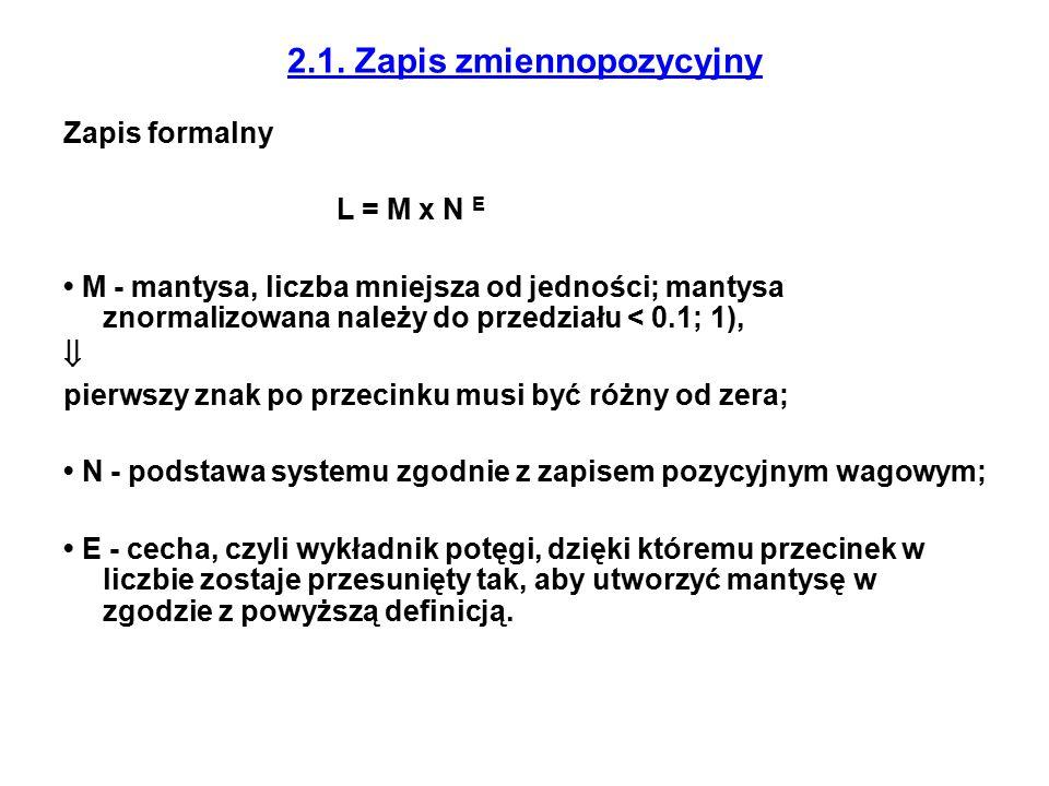 2.1. Zapis zmiennopozycyjny