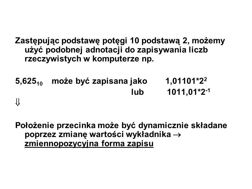 Zastępując podstawę potęgi 10 podstawą 2, możemy użyć podobnej adnotacji do zapisywania liczb rzeczywistych w komputerze np.