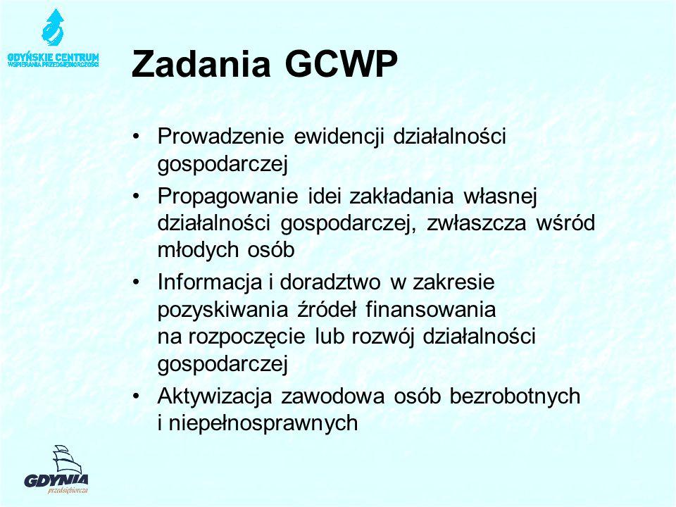 Zadania GCWP Prowadzenie ewidencji działalności gospodarczej