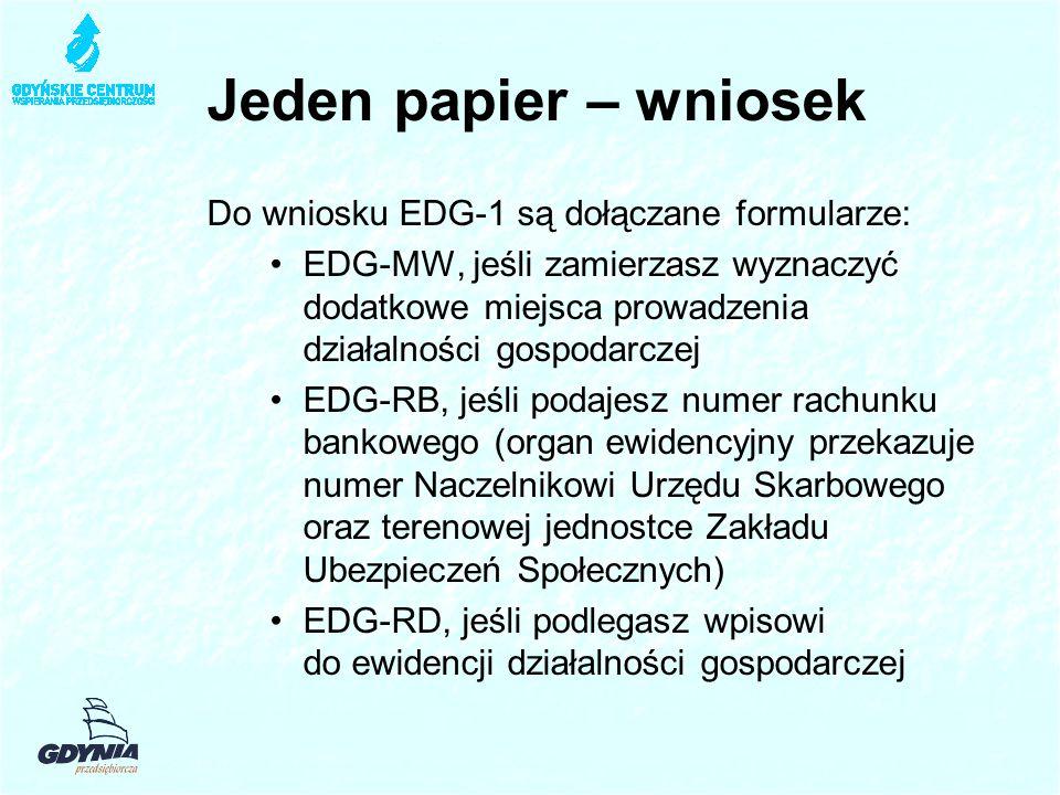Jeden papier – wniosek Do wniosku EDG-1 są dołączane formularze: