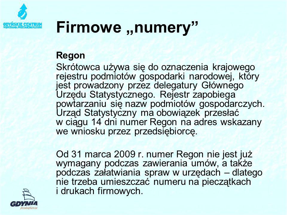 "Firmowe ""numery Regon"