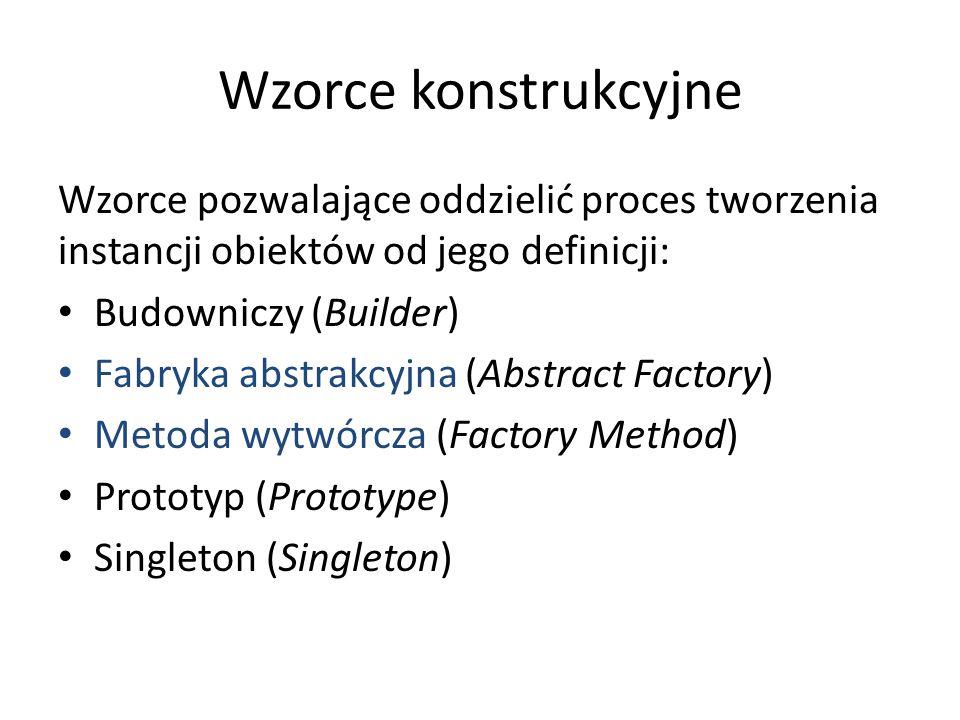 Wzorce konstrukcyjne Wzorce pozwalające oddzielić proces tworzenia instancji obiektów od jego definicji: