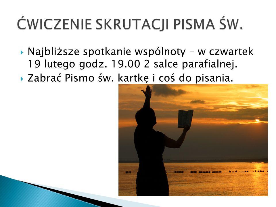 ĆWICZENIE SKRUTACJI PISMA ŚW.