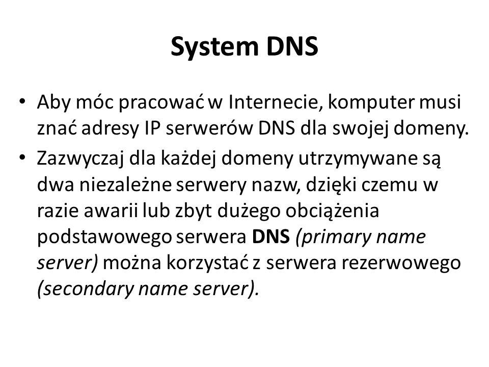 System DNS Aby móc pracować w Internecie, komputer musi znać adresy IP serwerów DNS dla swojej domeny.