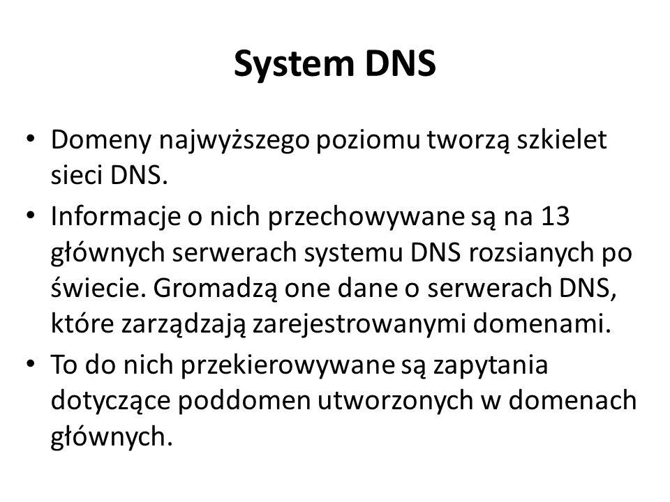 System DNS Domeny najwyższego poziomu tworzą szkielet sieci DNS.