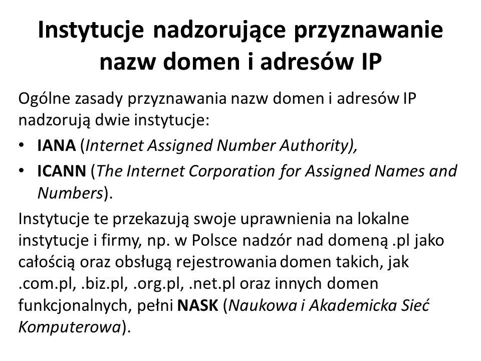 Instytucje nadzorujące przyznawanie nazw domen i adresów IP