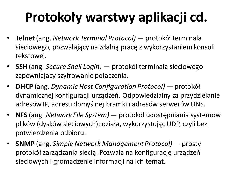 Protokoły warstwy aplikacji cd.