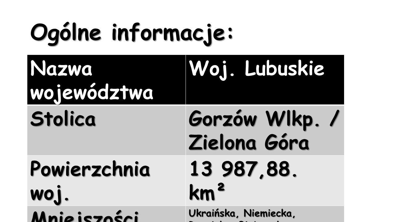 Ogólne informacje: Nazwa województwa Woj. Lubuskie Stolica