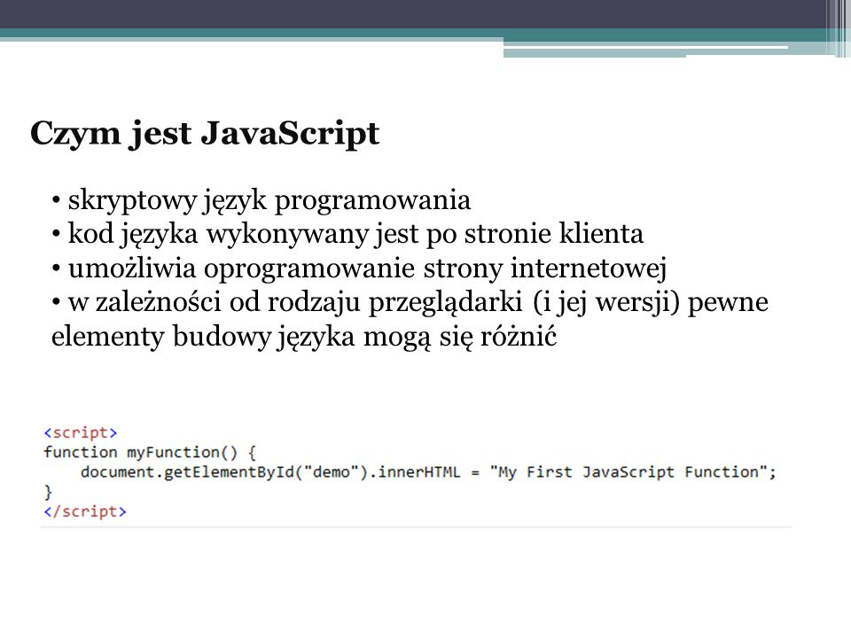 Czym jest JavaScript skryptowy język programowania