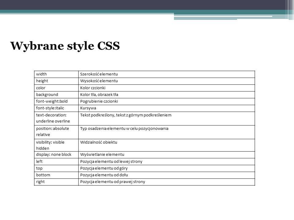 Wybrane style CSS width Szerokość elementu height Wysokość elementu