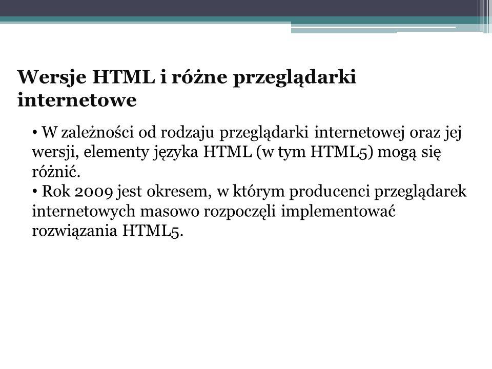 Wersje HTML i różne przeglądarki internetowe