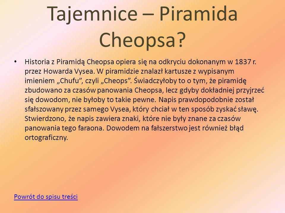 Tajemnice – Piramida Cheopsa