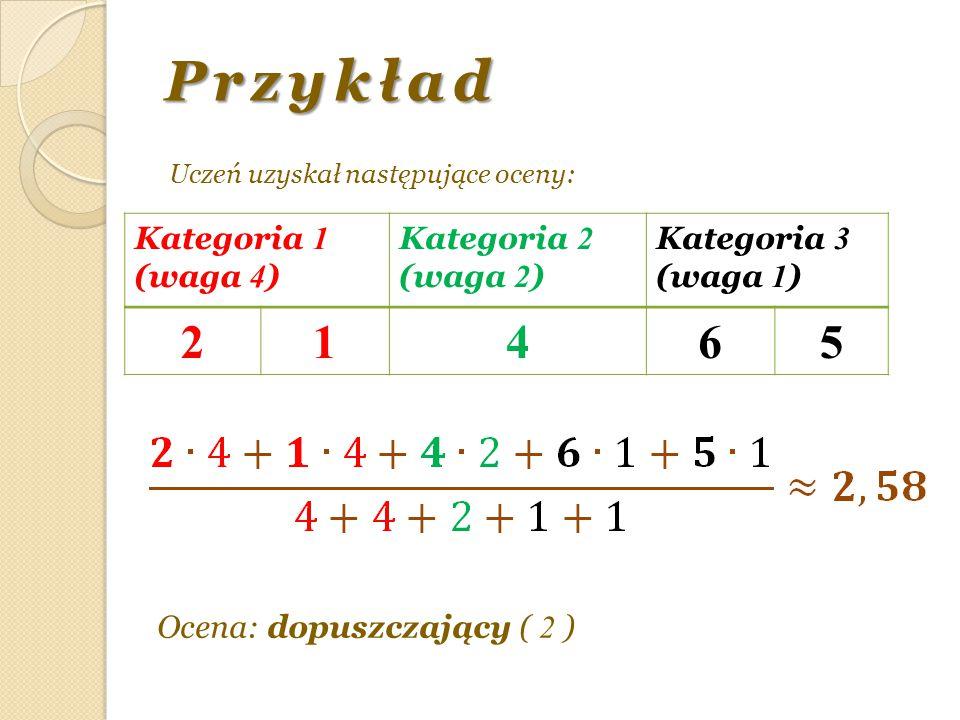 Przykład 2 1 4 6 5 Kategoria 1 (waga 4) Kategoria 2 (waga 2)