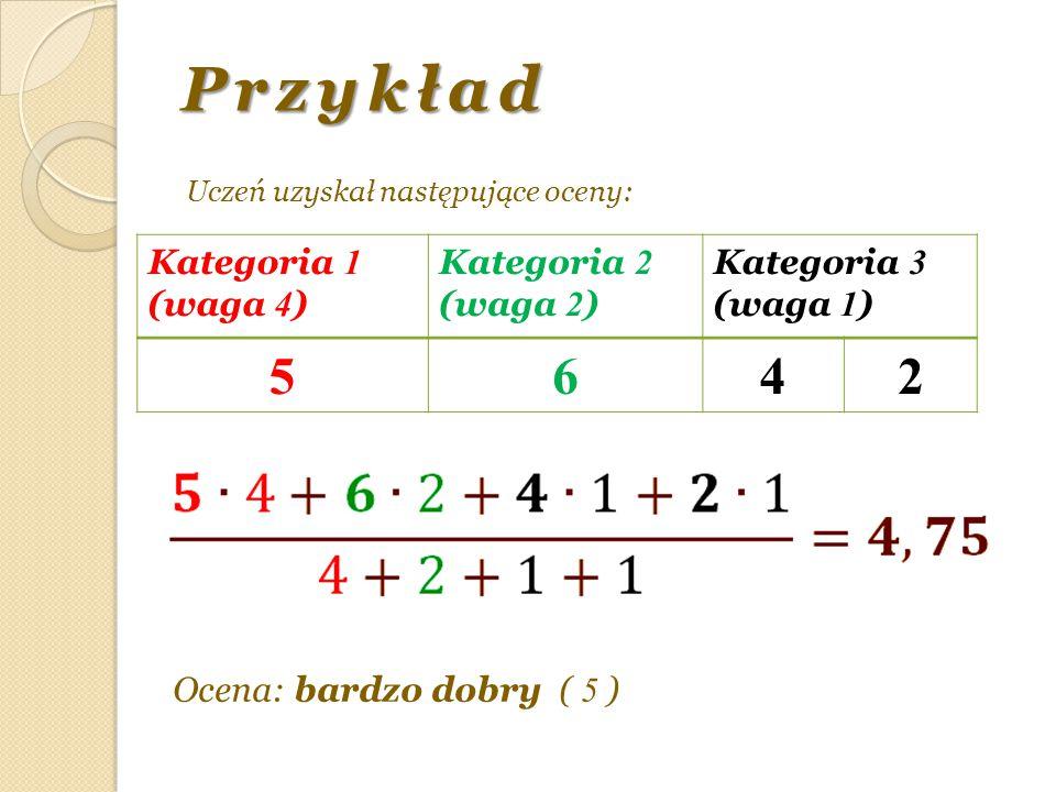 Przykład 5 6 4 2 Kategoria 1 (waga 4) Kategoria 2 (waga 2) Kategoria 3
