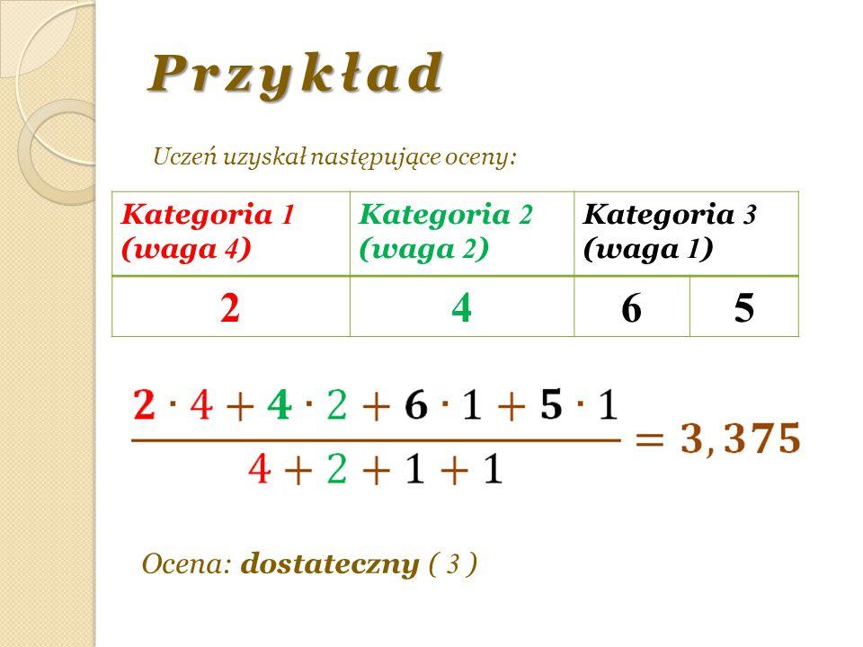 Przykład 2 4 6 5 Kategoria 1 (waga 4) Kategoria 2 (waga 2) Kategoria 3