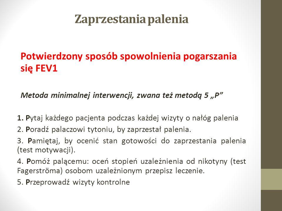 """Zaprzestania palenia Potwierdzony sposób spowolnienia pogarszania się FEV1. Metoda minimalnej interwencji, zwana też metodą 5 """"P"""