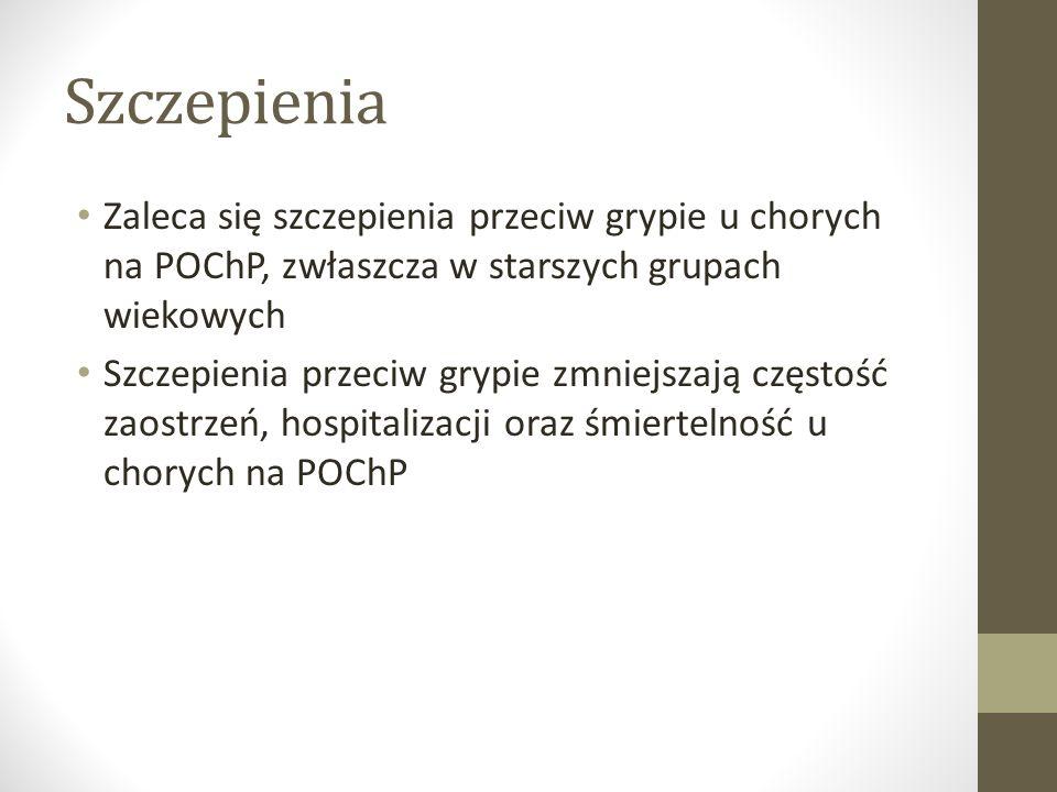 Szczepienia Zaleca się szczepienia przeciw grypie u chorych na POChP, zwłaszcza w starszych grupach wiekowych.