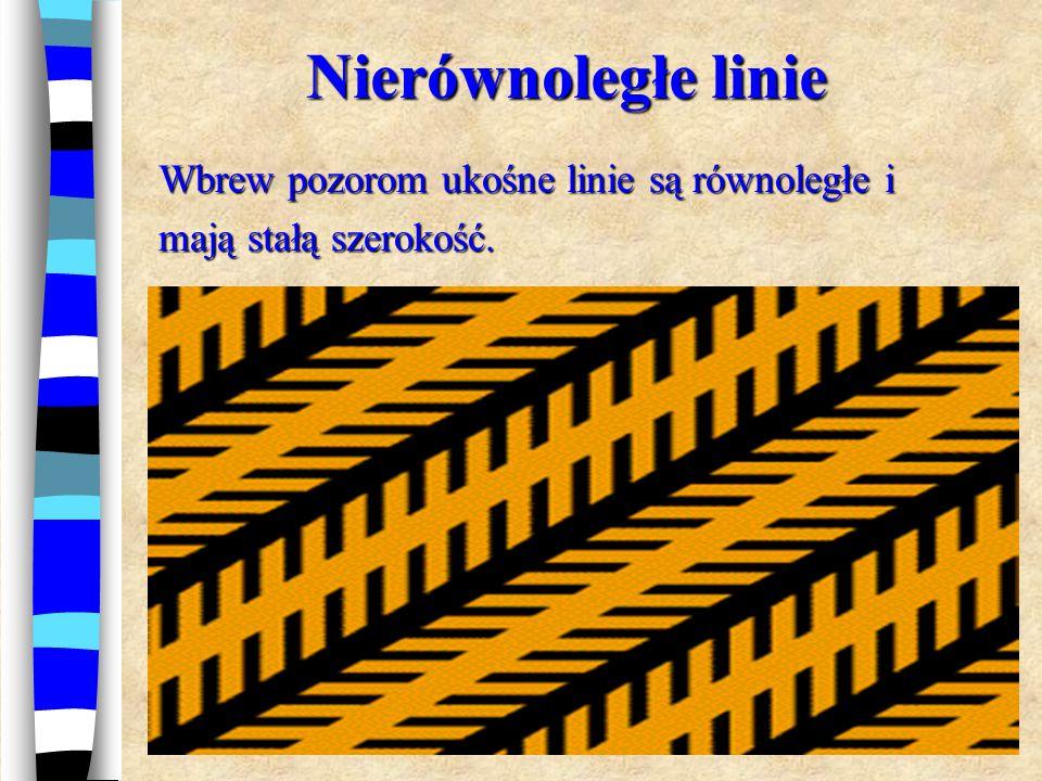 Nierównoległe linie Wbrew pozorom ukośne linie są równoległe i