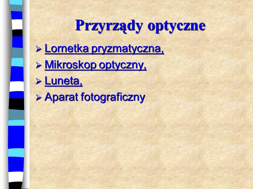 Przyrządy optyczne Lornetka pryzmatyczna, Mikroskop optyczny, Luneta,
