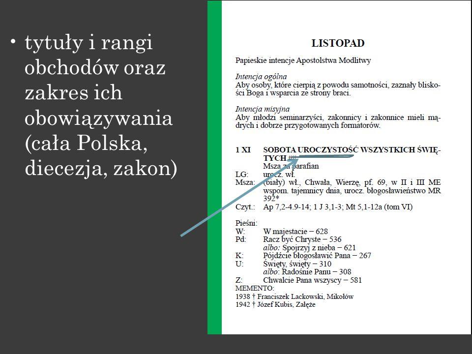 tytuły i rangi obchodów oraz zakres ich obowiązywania (cała Polska, diecezja, zakon)