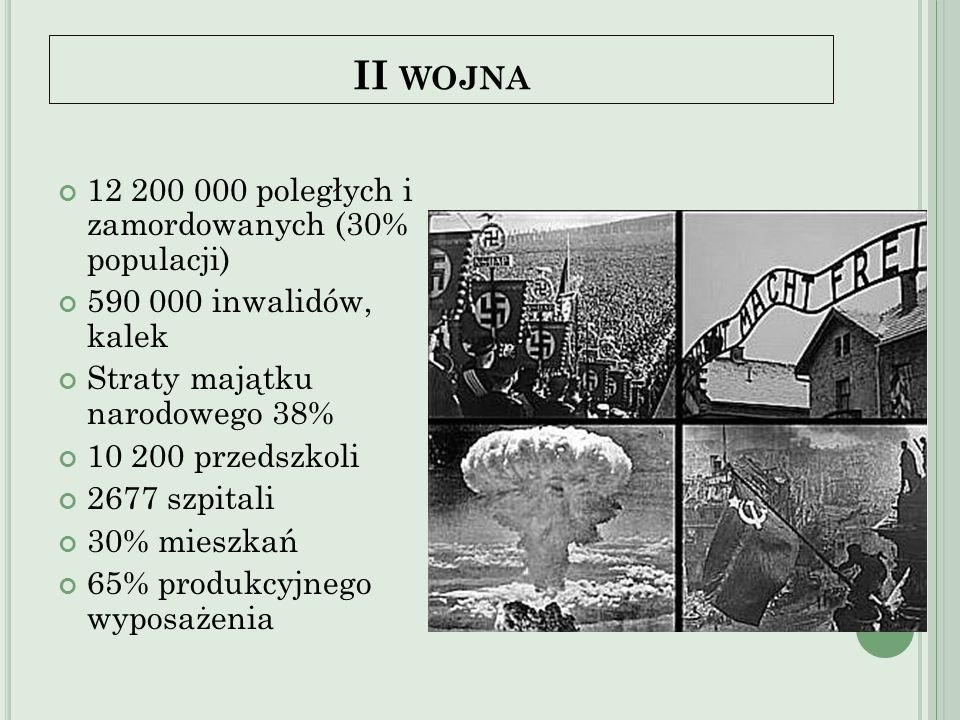 II wojna 12 200 000 poległych i zamordowanych (30% populacji)