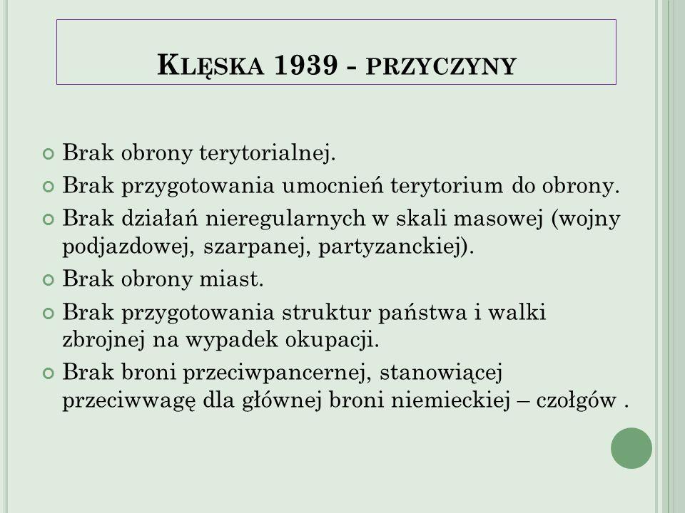 Klęska 1939 - przyczyny Brak obrony terytorialnej.