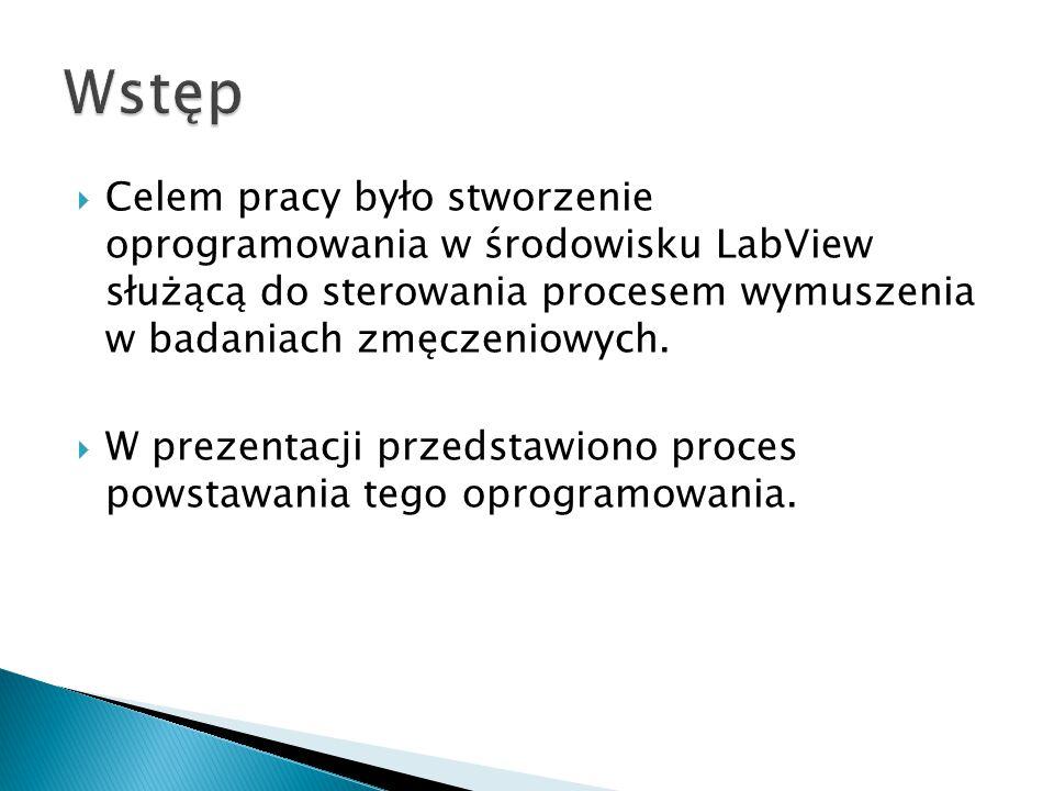 Wstęp Celem pracy było stworzenie oprogramowania w środowisku LabView służącą do sterowania procesem wymuszenia w badaniach zmęczeniowych.