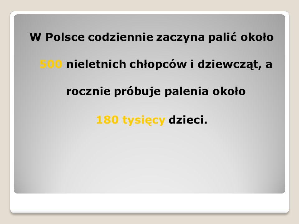 W Polsce codziennie zaczyna palić około 500 nieletnich chłopców i dziewcząt, a rocznie próbuje palenia około 180 tysięcy dzieci.