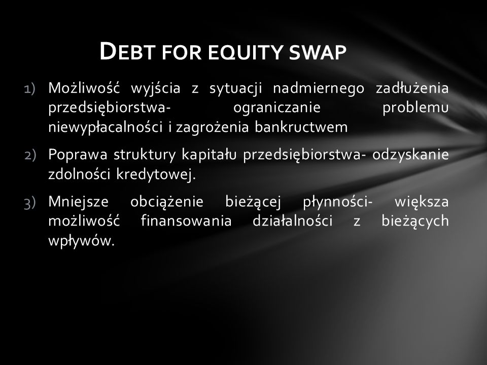Debt for equity swap