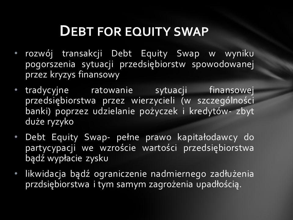 Debt for equity swap rozwój transakcji Debt Equity Swap w wyniku pogorszenia sytuacji przedsiębiorstw spowodowanej przez kryzys finansowy.