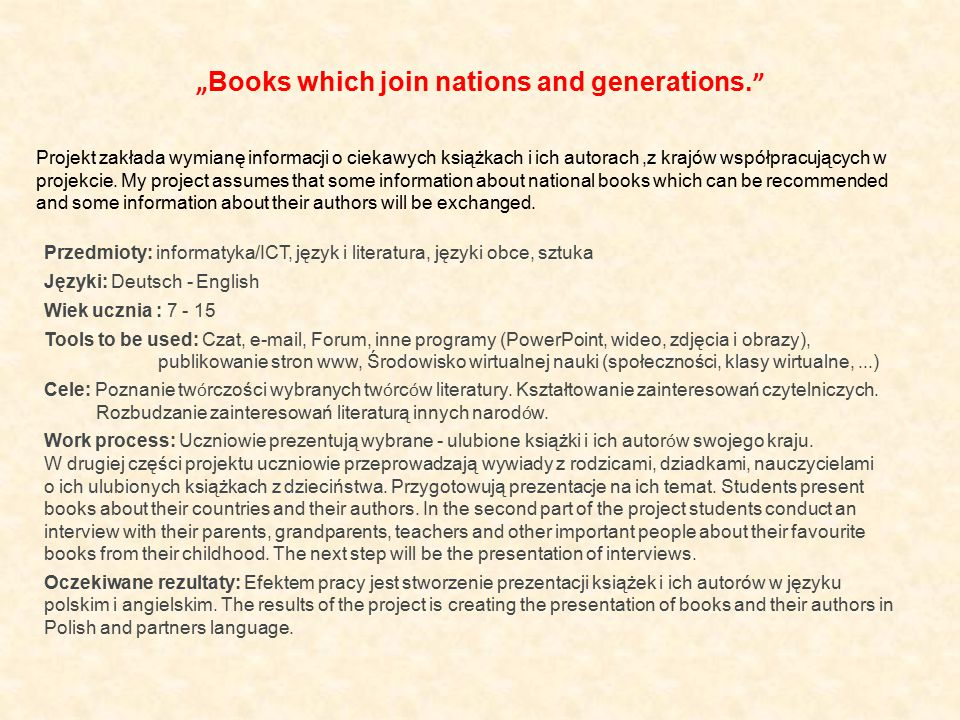 """Books which join nations and generations."