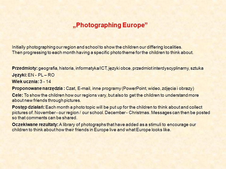 """Photographing Europe"