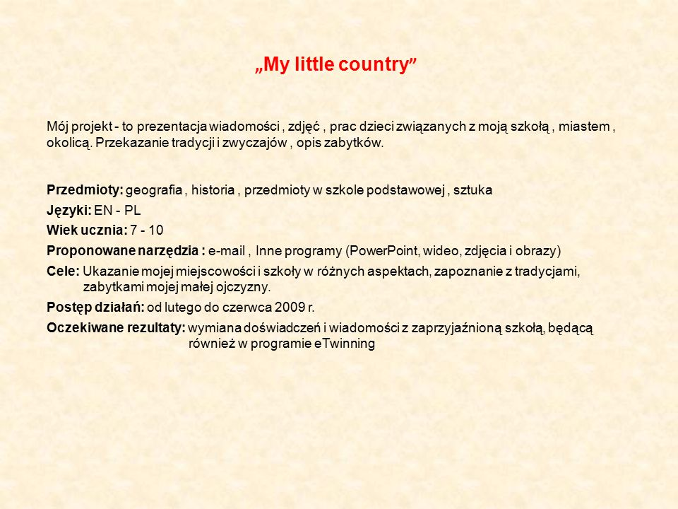 """My little country"