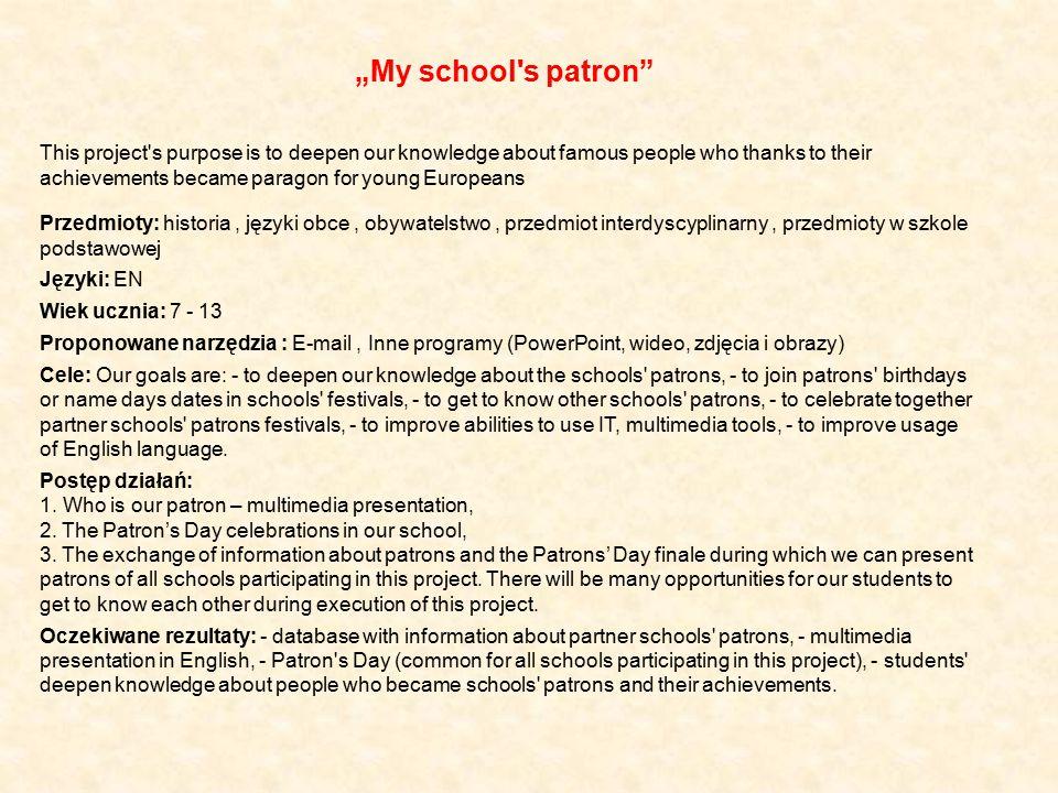"""""""My school s patron"""
