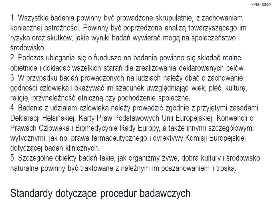 Standardy dotyczące procedur badawczych