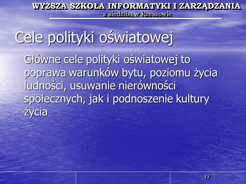Cele polityki oświatowej