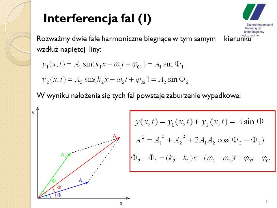 Interferencja fal (I) Rozważmy dwie fale harmoniczne biegnące w tym samym kierunku wzdłuż napiętej liny: