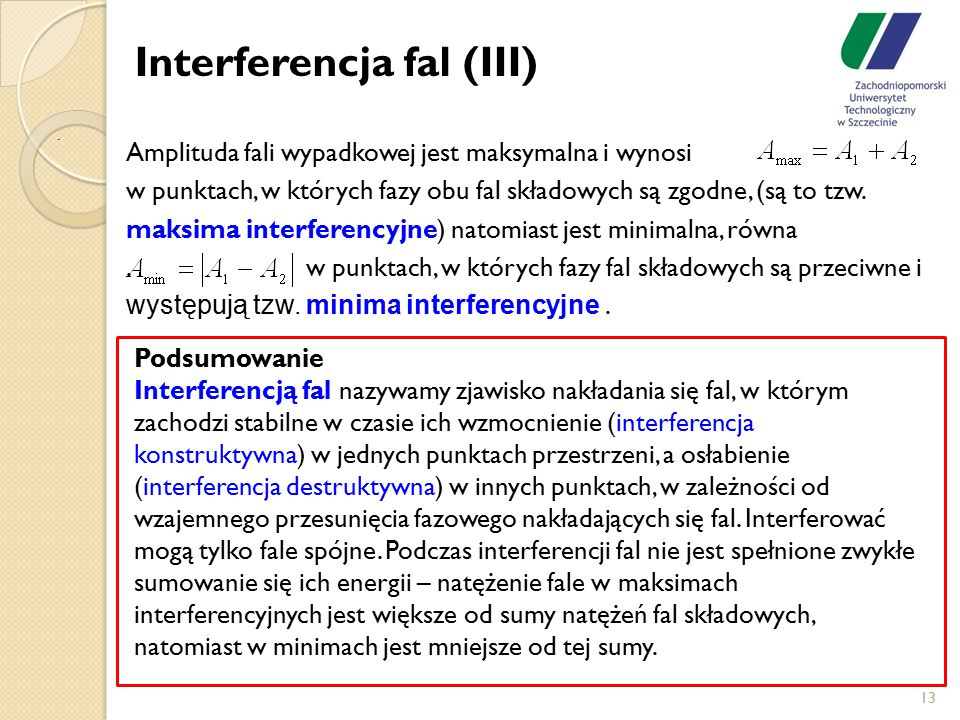 Interferencja fal (III)