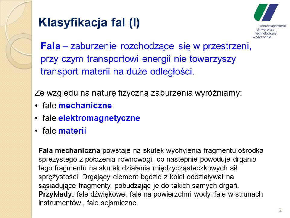 Klasyfikacja fal (I)