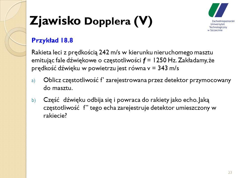 Zjawisko Dopplera (V) Przykład 18.8