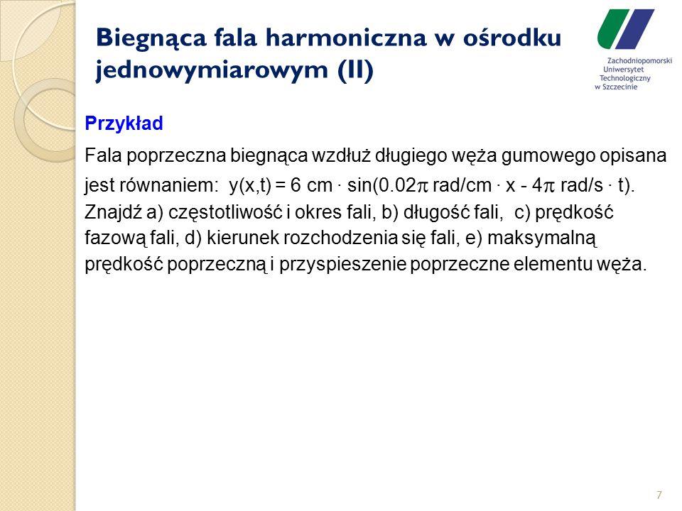 Biegnąca fala harmoniczna w ośrodku jednowymiarowym (II)