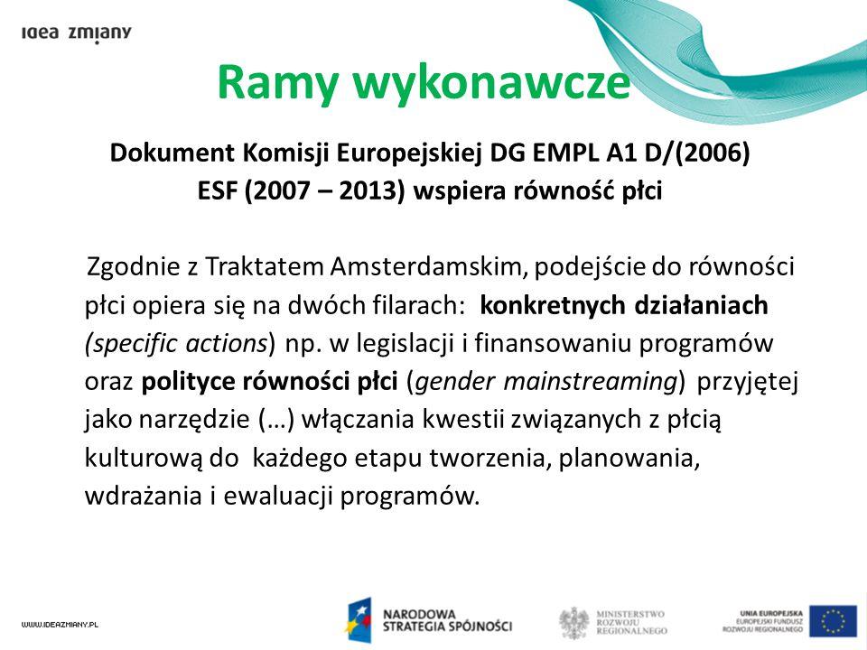 Ramy wykonawcze Dokument Komisji Europejskiej DG EMPL A1 D/(2006)