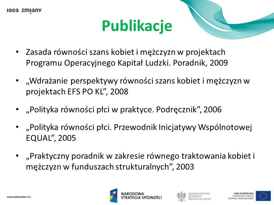 Publikacje Zasada równości szans kobiet i mężczyzn w projektach Programu Operacyjnego Kapitał Ludzki. Poradnik, 2009.