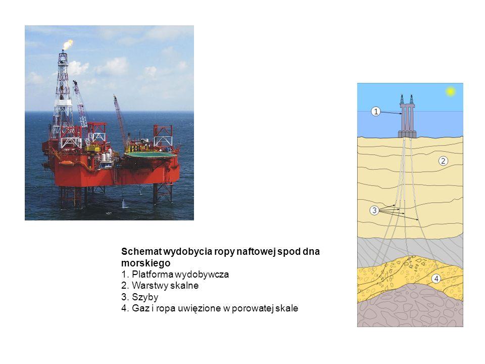 Schemat wydobycia ropy naftowej spod dna morskiego 1
