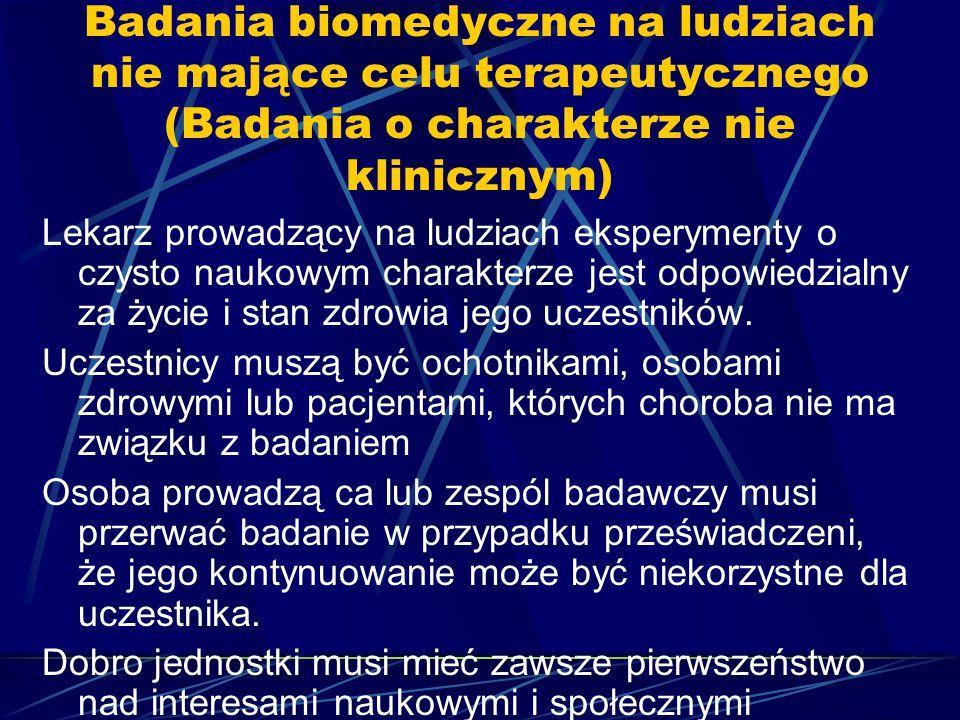 Badania biomedyczne na ludziach nie mające celu terapeutycznego (Badania o charakterze nie klinicznym)