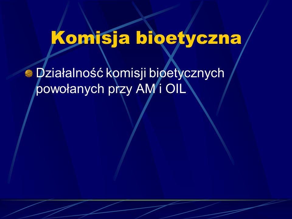 Komisja bioetyczna Działalność komisji bioetycznych powołanych przy AM i OIL