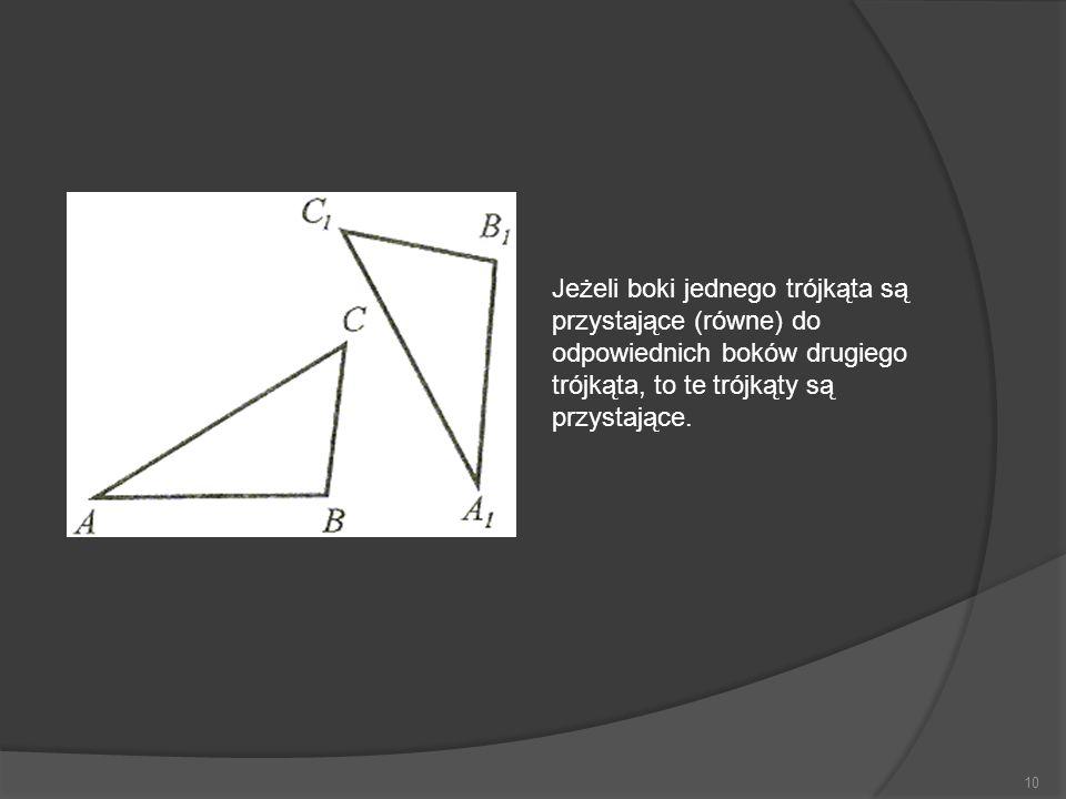 Jeżeli boki jednego trójkąta są przystające (równe) do odpowiednich boków drugiego trójkąta, to te trójkąty są przystające.