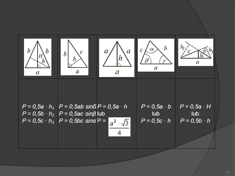 P = 0,5ab sinδ P = 0,5ac sinβ P = 0,5bc sinα