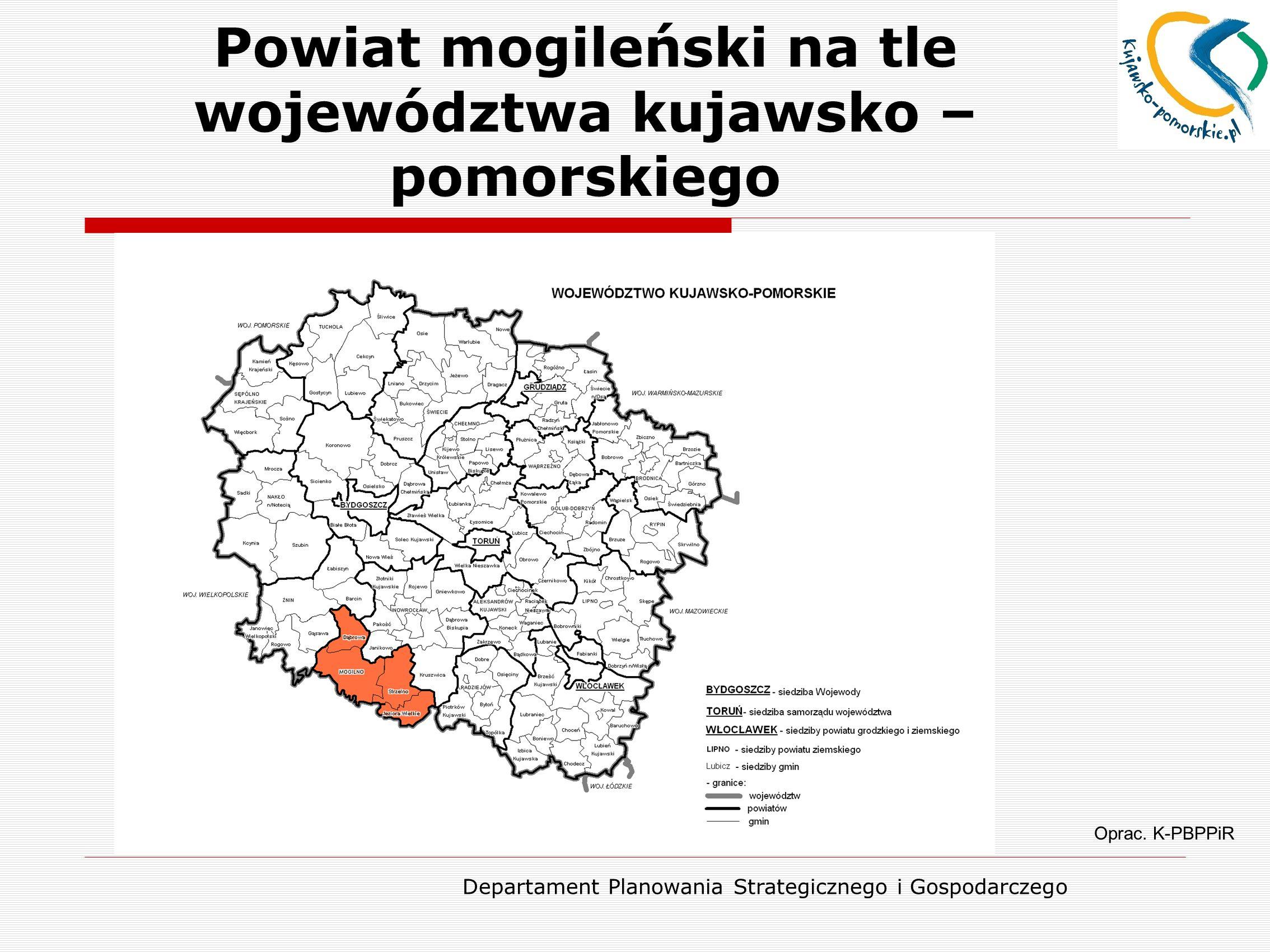 Powiat mogileński na tle województwa kujawsko – pomorskiego